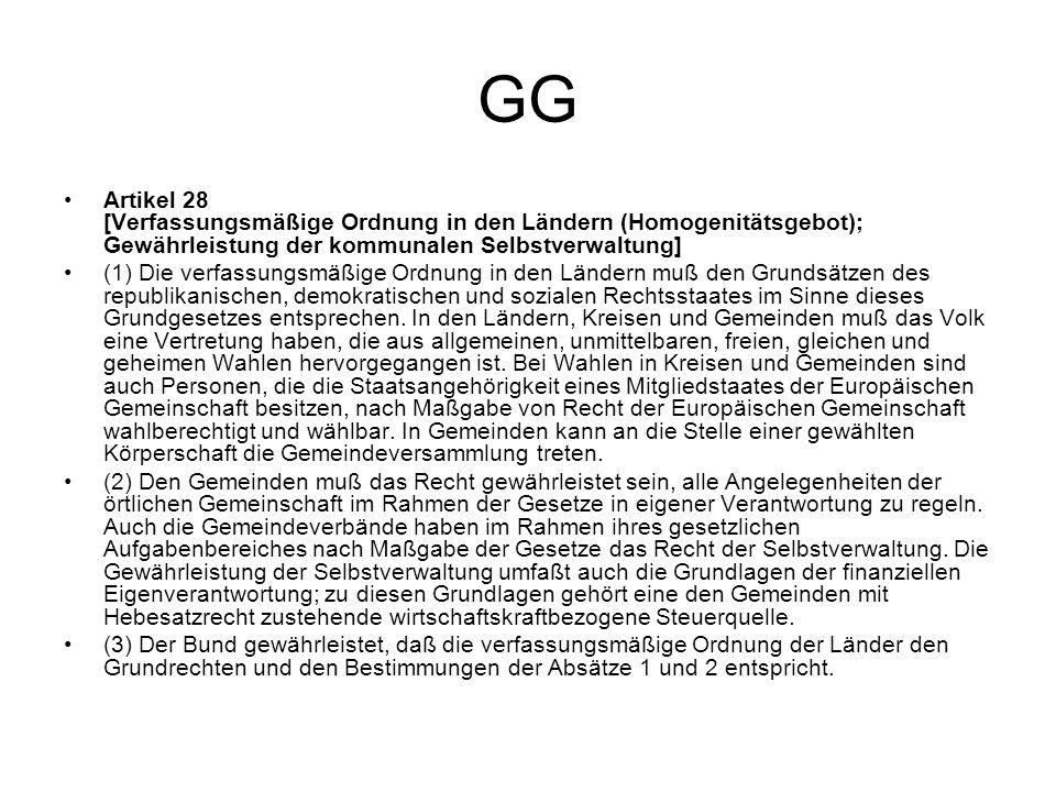GG Artikel 28 [Verfassungsmäßige Ordnung in den Ländern (Homogenitätsgebot); Gewährleistung der kommunalen Selbstverwaltung]
